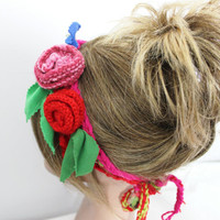 Crochet Headband, Colorful flower headband, Knitting headband, Bobo Headband, Women Hair Accessories, Unique headband, Crochet flower scarf