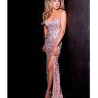 Jasz Couture 2013 Prom - Pink Sexy Rhinestoned Gown - Unique Vintage - Prom dresses, retro dresses, retro swimsuits.