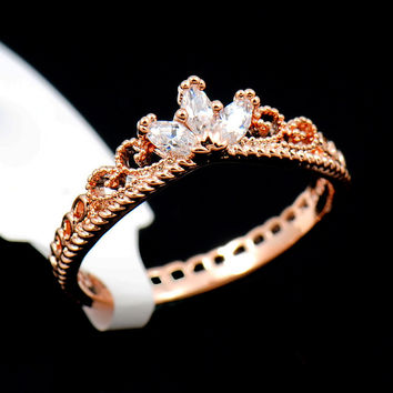 Rose Gold CZ Delicate Crown Ring