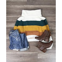 Final Sale - Fall for You Knitted Block Color Turtleneck Sweater in Mustard Teal Combo