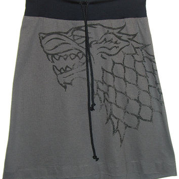 Stark Sigil Winter Is Coming Game Of Thrones Aline Drawstring Skirt