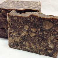 Raw African Black Soap 100% natural. Traditionally used for eczema, acne, dark spots, dryness & sensitive skin. Unscented