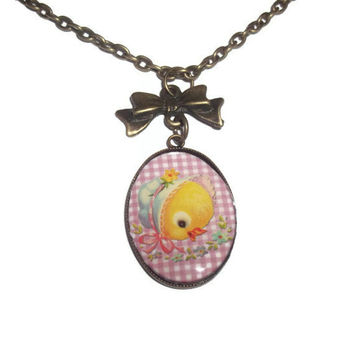 Duck Necklace, Vintage Style Baby Ducking Pendant, Retro Kitsch Jewelry