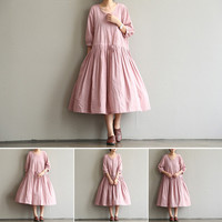 cotton Pink   summer dress cotton dress Maxi Skirt  dress loose dress short sleeve dress long  large size dress