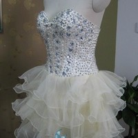 Stock Strapless Beaded Homecoming Party Dress Multilayer Cocktail Prom Gown 6-16