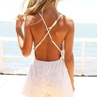 White Lace Playsuit with Low Open Criss Cross Back