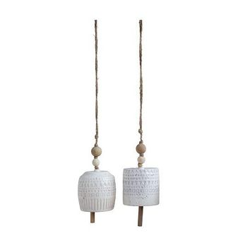 Delicate Stoneware Hanging Chimes White With Wood Beads Set of 2
