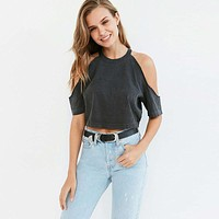 Fashion Solid Color Strapless Short Sleeve Women T-shirt Crop Tops