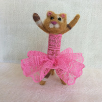 Needle felted Kitten felt kitten felting kitten ballerina fiber art wool doll sculpture animal one of a kind OOAK unique gift cute miniature
