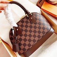 LV Fashion New Tartan Leather Shoulder Bag Crossbody Bag Handbag Coffee