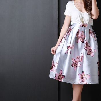 Silvery Floral Box Pleated Skirt
