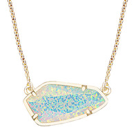 Kendra Scott Cami Necklace in Gold with Aqua Kyocera Opal