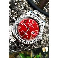 Rolex Tide brand classic simple and versatile fashion quartz watch Silver+red
