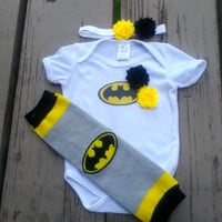 Batman Girl Onesuit - Bat Girl - Super Hero - Baby Shower - Halloween - Birthday - 2T, 3T, 4T, 5T