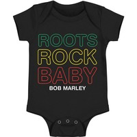 Bob Marley Boys' Roots Rock Baby Bodysuit Black