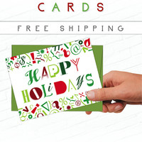 Typography Christmas Card, Graphic Designer Christmas Card, Red, Design Christmas Cards, Green, Christmas Typography, Holiday Card Set, Type