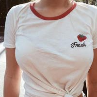 Causal Loose Fresh Strawberry Print T-shirt