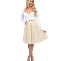 Cream High Waisted Chiffon Ballerina Skirt