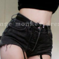 vintage custom cut off jean washed BLACK denim high waisted summer shorts made to order all sizes