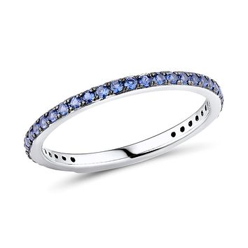 Natural Blue Sapphire Black Prong 3/4 Eternity Ring