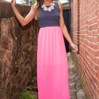 Neon The Right Track Maxi Dress, Neon Pink