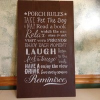 Rustic Wood Pallet Porch Sign, Porch Rules Sign, Front Porch Decor, Outdoor Wall Sign, Farmhouse Decor, Deck Sign, Back Porch Welcome Sign