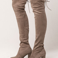 DELICIOUS Heeled Womens Over The Knee Boots | Boots + Booties