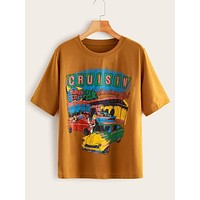 Plus Car & Letter Graphic Tee