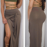 Mocha Knotted Front High Slit Maxi Skirt