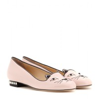 charlotte olympia - kitty studs patent-leather slippers