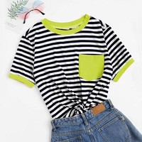 Casual Pocket Patched Striped Ranger T Shirt Women Tops Preppy Regular Short Sleeve Round Neck Ladies Tshirt
