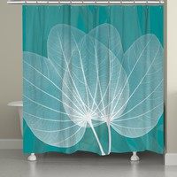 Teal Leaves Shower Curtain