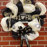 "Pittsburgh Penguins Wreath - "" Let's Go PENS"", Silk floral, Deco Mesh, Black and Gold, Gift, Home Decor, Housewarming"