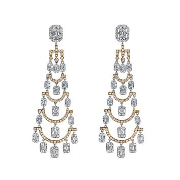 5.38tcw Round & Baguette Diamonds in 18K White Gold Chandelier Earrings