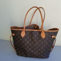 DCCK7H8 Louis Vuitton Monogram Canvas Neverfull MM Brown Tote Bag
