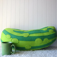Dill Pickle Plush, Pickle Pillow, Food Pillow, Vegetable Pillow, Food Plush, Pickle Plush