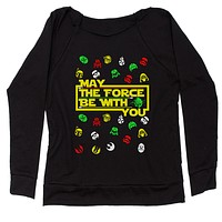 May The Force Be With You Ugly Christmas Slouchy Off Shoulder Oversized Sweatshirt