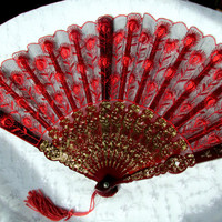 Decorative Hand Fan With Stand Embroidered Spanish Motif Red And Gold Boudoir Decor In Original Box Collectible Gift Item 2037