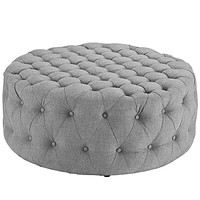 Amour Upholstered Fabric Ottoman, Light Gray