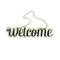 """Vintage Style Hanging Metal """"Welcome"""" Sign, Black/Off-White, 8-Inch x 1-3/4-Inch"""