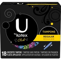 U by Kotex Click Regular Compact Tampons, Unscented, 18 Count (Pack of 4)