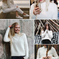 ♡ White twist pullover knitted sweater ♡