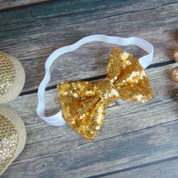 Sequin Sparkle Bow Headband - Baby, Infant, Toddler, Teen, Adult Glitter Headband - Ann Marie Avenue
