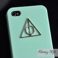Harry potter Deathly Hallows Mini Green Iphone Case, Iphone 4 case, Iphone 4S case, Light Green case cover for Iphone 4, 4s, 4g