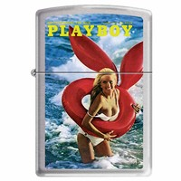 Zippo 1196 Classic Brushed Chrome Playboy Cover August 1972 Windproof Pocket Lighter