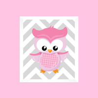 Pink Owl on Gray Chevron, CUSTOMIZE YOUR COLORS, 8x10 Prints kids wall art girl nursery decor modern art nursery decor print art baby decor