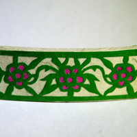 Green Flower Hanji French Barrette Hair Pin Striped Mint Emerald Fucshia Sturdy Stainless Steel Handmade Thick Hair Pin