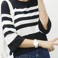 Black and White Stripe 3/4 Sleeve Loose Fitting Blouse