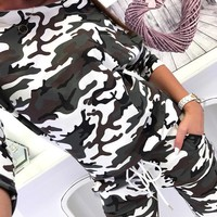 Camouflage Women Fashion Print Top Sweater Pullover Pants Trousers Set Two-Piece