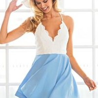 White-and-Blue Lace Skater Dress – Lookbook Store